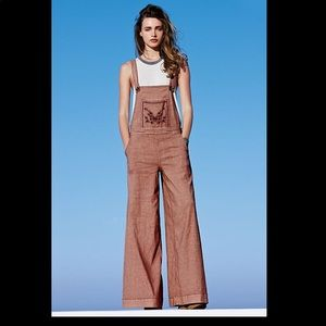 Free People Farrah Embroidered Overalls